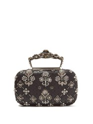 Alexander Mcqueen Jewelled Top Handle Leather Clutch Bag Silver Multi