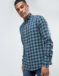 Solid Checked Flannel Shirt In Regular Fit Green