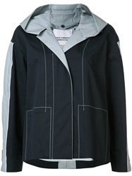 Paco Rabanne Hooded Anorak Coat Blue