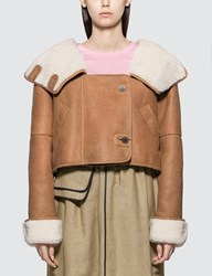 Loewe Crop Shearling Hooded Jacket Brown