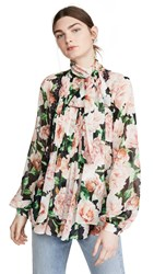 Costarellos Printed Georgette Bow Tie Blouse Multi Pink