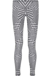 Mcq By Alexander Mcqueen Houndstooth Stretch Jersey Leggings Black