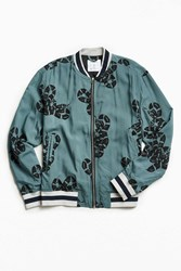 Urban Outfitters Uo Snake Print Tencel Bomber Jacket Teal