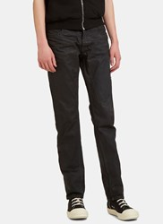 Rick Owens Treated Slim Leg Jeans Black