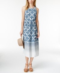 Maison Jules Printed Border Midi Dress Only At Macy's Storm Cloud Combo