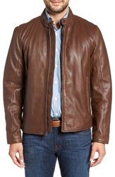 Andrew Marc New York Horace Leather Moto Jacket Mahogany