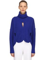 Antonio Berardi Wool Turtleneck Sweater W Cutouts Blue