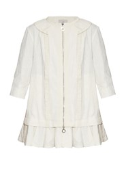 Moncler Elea Floral Brocade Tiered Coat White
