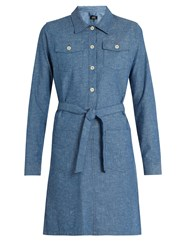 A.P.C. Dolly Cotton Chambray Dress Indigo
