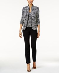 Alex Evenings Printed Jacket And Shell Set Black White