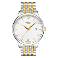 Tissot T0636102203700 Men's Tradition Date Two Tone Bracelet Strap Watch Silver Gold