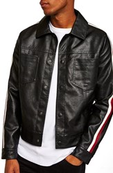 Topman Faux Leather Western Jacket Black Multi