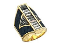 Vince Camuto Drama Ring Gold Eclipse Blue Grey Hematite Ring