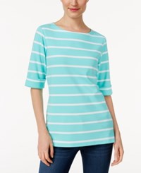 Karen Scott Striped Boat Neck Top Only At Macy's Pacific Aqua