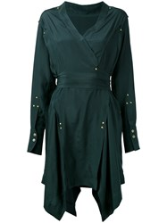 Isabel Marant Handkerchief Hem Wrap Dress Green