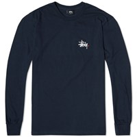 Stussy Long Sleeve Basic Logo Tee Navy White And Red