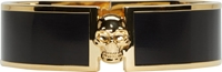 Alexander Mcqueen Gold And Black Skull Button Cuff