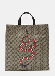 Gucci Bestiary Gg Print Snake Tote Bag Brown