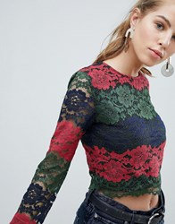 Oeuvre Lace Panel Crop Top Red