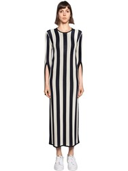 Courreges Striped Viscose Knit Long Sleeved Dress Blue Ivory