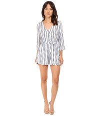 Brigitte Bailey Hadley Overlap Romper With Roll Up Sleeve Off White Blue Women's Jumpsuit And Rompers One Piece Beige