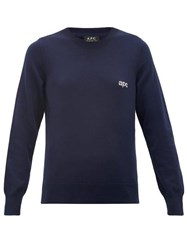 A.P.C. Logo Jacquard Knitted Cotton Sweater Navy
