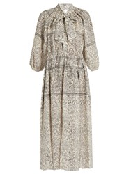 Zimmermann Caravan Bow Batik Print Linen Smock Dress Ivory Black