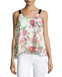 Romeo And Juliet Couture Grosgrain Strap Flowy Tank Pink Floral