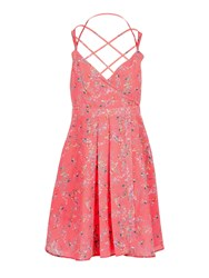 Morgan Criss Cross Straps Flower Print Dress Coral