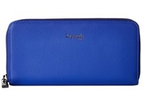 Lipault Paris Plume Elegance Leather Zip Around Wallet Exotic Blue Wallet Handbags