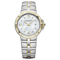 Raymond Weil 5180 Stp 00995 'S Parsifal Diamond Date Mother Of Pearl Two Tone Bracelet Strap Watch Silver Gold