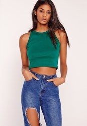 Missguided Ribbed Narrow Neck Strap Crop Top Teal Blue