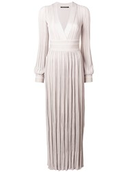 Antonino Valenti Pleated Long Dress Nude And Neutrals