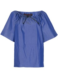 Martin Grant Drawstring Neck Top Blue