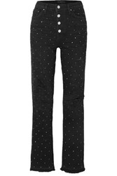 Amiri Crystal Embellished Distressed High Rise Straight Leg Jeans Black
