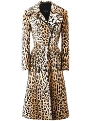 Jitrois Leopard Print Long Coat Brown