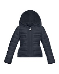 Moncler Alose Hooded Lightweight Down Puffer Coat Navy Size 4 6 Size 4