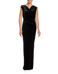 Vince Camuto Cap Sleeve Cowl Neck Sheath Gown Black Silver