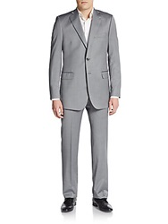 Saks Fifth Avenue Black Regular Fit Herringbone Wool Silk Suit Grey