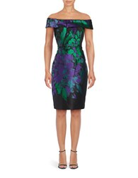 Teri Jon Off The Shoulder Floral Sheath Dress Purple Green Black