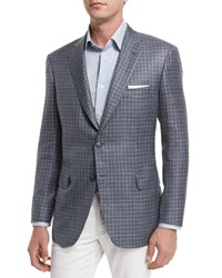Brioni Check Two Button Sport Coat Taupe Brown