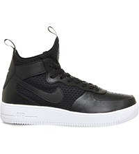 Nike Air Force 1 Ultra Force Leather And Mesh Trainers Black White