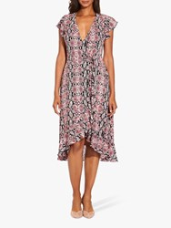Adrianna Papell Snake Print Wrap Dress Red Multi