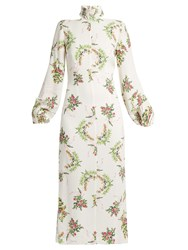 Emilia Wickstead Alison Floral Print Crepe Midi Dress White Print