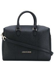Armani Jeans Structured Tote Women Synthetic Resin One Size Black