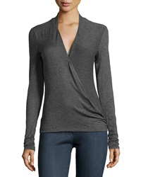 Max Studio Crossover Front Jersey Tee Charcoal