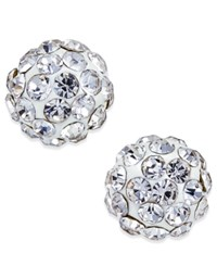 Macy's Crystal Ball Stud Earrings In 10K White Gold