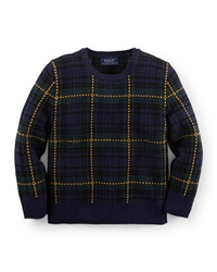 Ralph Lauren Childrenswear Plaid Wool Blend Pullover Cardigan Navy Size 2 7 Holiday Plaid