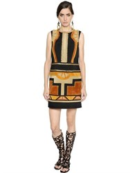 Alberta Ferretti Patchwork Suede Dress