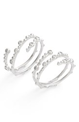 Kendra Scott Women's Zoe Set Of 2 Wrap Rings White Cz Silver